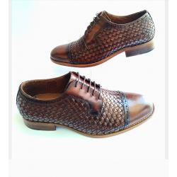 Sapato Masculino Social Marrom Solado em Couro Cabedal em  Tresse