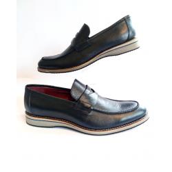 Sapato Masculino  Mocassim em Couro Preto Solado em EVA