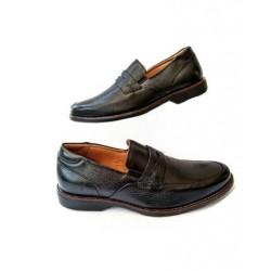 Sapato Masculino Mocassim Preto em Couro com Solado Confort em Borracha