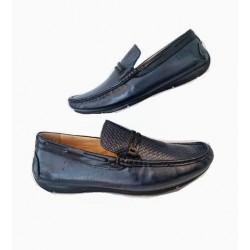 Sapato Masculino Mocassim Azul Navy em Couro com Solado em Borracha