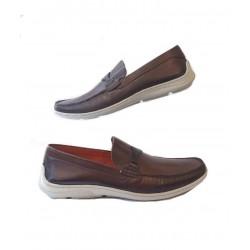 Sapato Masculino Mocassim Marrom em Couro com Solado em Borracha