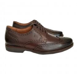Sapato Masculino em Couro com Cadarço com Solado Confort em Borracha com Detalhes Brogue