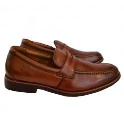 Sapato Masculino Mocassim Cacau em Couro com Solado Confort em Borracha