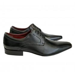 Sapato Masculino Preto em Couro Estilo Italiano Com Cadarço Solado em Couro